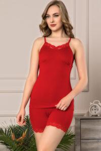 3072 ST czerwony hurtownia koszul nocnych wolka_hurtownia_duman pizama_wiskoza