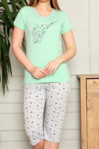 CHR 1270 mięta hurtownia piżam damskich tanie piżamy damskie hurt producent piżam bawełnianych wólka hurtownia bielizny duman