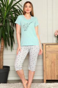 CHR 1270 niebieski hurtownia piżam damskich tanie piżamy damskie hurt producent piżam bawełnianych wólka hurtownia bielizny