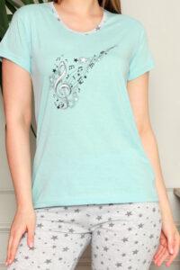 CHR 1270 niebieski hurtownia piżam damskich tanie piżamy damskie hurt producent piżam bawełnianych wólka hurtownia bielizny duman