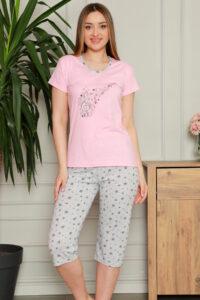 CHR 1270 róż hurtownia piżam damskich tanie piżamy damskie hurt producent piżam bawełnianych wólka hurtownia bielizny