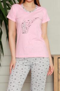 CHR 1270 róż hurtownia piżam damskich tanie piżamy damskie hurt producent piżam bawełnianych wólka hurtownia bielizny duman