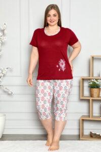 CHR 2261 bordo hurtownia piżam damskich tanie piżamy damskie plus size hurt producent piżam bawełnianych wólka hurtownia bielizny