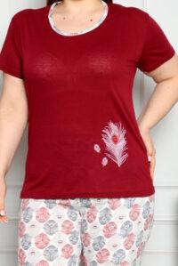 CHR 2261 bordo hurtownia piżam damskich tanie piżamy damskie plus size hurt producent piżam plus size bawełnianych wólka hurtownia bielizny