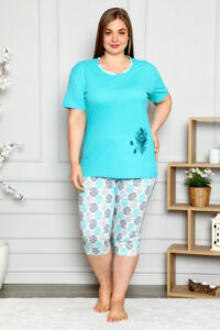 CHR 2261 turkus hurtownia piżam damskich tanie piżamy damskie plus size hurt producent piżam bawełnianych wólka hurtownia bielizny