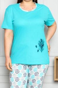 CHR 2261 turkus hurtownia piżam damskich tanie piżamy damskie plus size hurt producent piżam plus size bawełnianych wólka hurtownia bielizny
