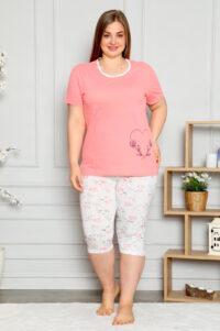 CHR 2262 łosos hurtownia piżam damskich tanie piżamy damskie plus size hurt producent piżam bawełnianych wólka hurtownia bielizny
