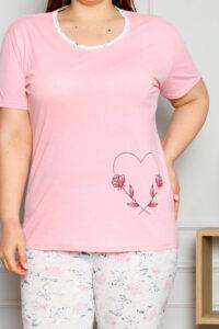 CHR 2262 róż hurtownia piżam damskich duże rozmiary tanie piżamy damskie plus size hurt producent piżam bawełnianych wólka hurtownia bielizny