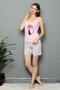 CHR 3252 róż hurtownia piżam damskich tanie piżamy damskie hurt producent piżam bawełnianych wólka hurtownia bielizny