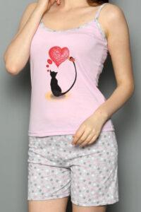 CHR 3252 róż hurtownia piżam damskich tanie piżamy damskie hurt producent piżam bawełnianych wólka hurtownia bielizny duman