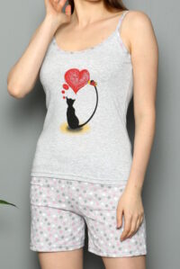 CHR 3252 szary hurtownia piżam damskich tanie piżamy damskie hurt producent piżam bawełnianych wólka hurtownia bielizny duman