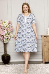 CHR 6256 niebieski tanie koszule nocne hurtownia bielizny wólka producent koszul nocnych koszule nocne PLUS SIZE hurt duman