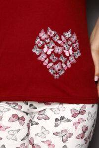 CHR 2264 bordo hurtownia piżam damskich tanie piżamy damskie plus size hurt producent piżam bawełnianych wólka hurtownia