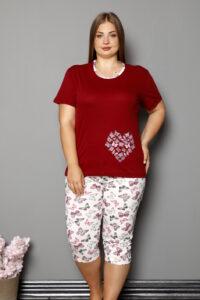 CHR 2264 bordo hurtownia piżam damskich tanie piżamy damskie plus size hurt producent piżam bawełnianych wólka hurtownia bielizny-001