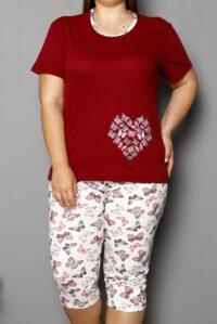 CHR 2264 bordo hurtownia piżam damskich tanie piżamy damskie plus size hurt producent piżam bawełnianych wólka hurtownia bielizny