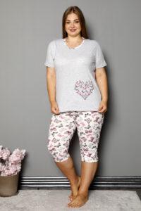 CHR 2264 szary hurtownia piżam damskich tanie piżamy damskie plus size hurt producent piżam bawełnianych wólka hurtownia bielizny