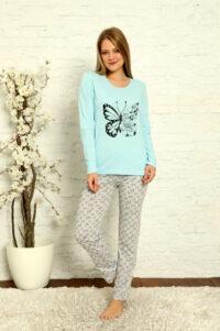CHR 1015 błękit hurtownia piżam damskich tanie piżamy damskie hurt producent piżam bawełnianych wólka hurtownia bielizny