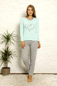 CHR 1022 mięta hurtownia piżam damskich tanie piżamy damskie hurt producent piżam bawełnianych wólka hurtownia bielizny