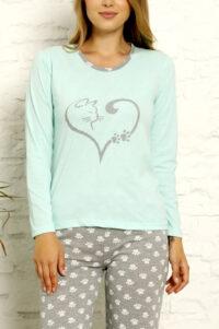 CHR 1022 mięta hurtownia piżam tanie piżamy damskie hurt producent piżam bawełnianych wólka hurtownia bielizny