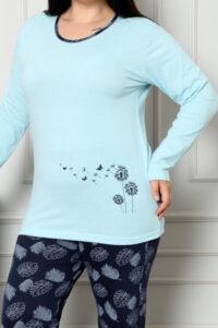 CHR 2007 błękit hurtownia piżam damskich plus size tanie piżamy damskie hurt producent piżam bawełnianych wólka hurtownia bielizny