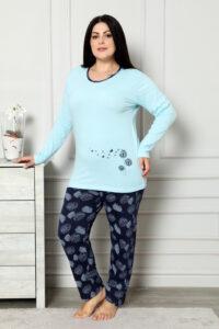 CHR 2007 błękit hurtownia piżam damskich plus size tanie piżamy damskie plus size hurt producent piżam bawełnianych wólka hurtownia bielizny