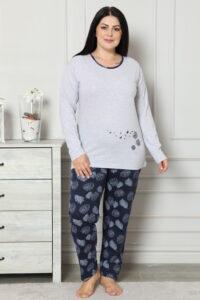 CHR 2007 szary hurtownia piżam damskich plus size tanie piżamy damskie plus size hurt producent piżam bawełnianych wólka hurtownia bielizny