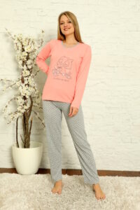 LAP 1012 łosoś hurtownia piżam damskich tanie piżamy damskie hurt producent piżam bawełnianych wólka hurtownia bielizny