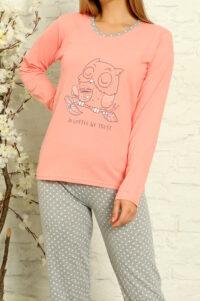 LAP 1012 łosoś hurtownia piżam tanie piżamy damskie hurt producent piżam bawełnianych wólka hurtownia bielizny
