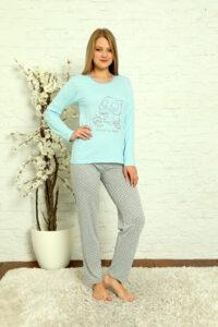 LAP 1012 niebieski hurtownia piżam damskich tanie piżamy damskie hurt producent piżam bawełnianych wólka hurtownia bielizny