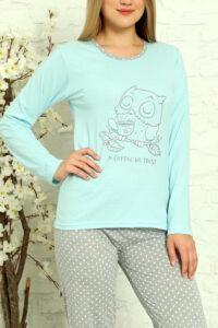 LAP 1012 niebieski hurtownia piżam tanie piżamy damskie hurt producent piżam bawełnianych wólka hurtownia bielizny