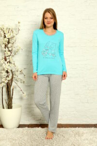 LAP 1012 turkus hurtownia piżam damskich tanie piżamy damskie hurt producent piżam bawełnianych wólka hurtownia bielizny