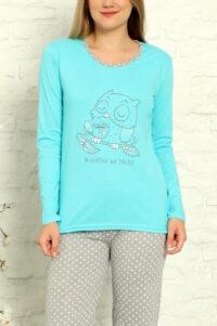 LAP 1012 turkus hurtownia piżam tanie piżamy damskie hurt producent piżam bawełnianych wólka hurtownia bielizny
