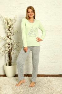 LAP 1012 zielony hurtownia piżam damskich tanie piżamy damskie hurt producent piżam bawełnianych wólka hurtownia bielizny