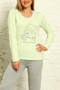 LAP 1012 zielony hurtownia piżam tanie piżamy damskie hurt producent piżam bawełnianych wólka hurtownia bielizny