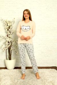 LAP 1014 łosoś hurtownia piżam damskich tanie piżamy damskie hurt producent piżam bawełnianych wólka hurtownia bielizny