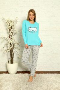 LAP 1014 turkus hurtownia piżam damskich tanie piżamy damskie hurt producent piżam bawełnianych wólka hurtownia bielizny