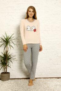 LAP 1021 łosoś hurtownia piżam damskich tanie piżamy damskie hurt producent piżam bawełnianych wólka hurtownia bielizny