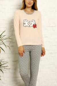 LAP 1021 łosoś hurtownia piżam tanie piżamy damskie hurt producent piżam bawełnianych wólka hurtownia bielizny