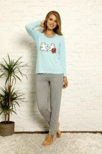 LAP 1021 niebieski hurtownia piżam damskich tanie piżamy damskie hurt producent piżam bawełnianych wólka hurtownia bielizny