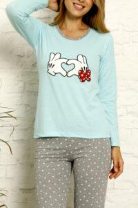 LAP 1021 niebieski hurtownia piżam tanie piżamy damskie hurt producent piżam bawełnianych wólka hurtownia bielizny