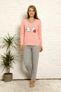 LAP 1021 róż hurtownia piżam damskich tanie piżamy damskie hurt producent piżam bawełnianych wólka hurtownia bielizny
