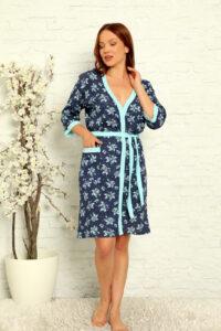 LAP 15004 niebieski szlafrok damski bawełaniany pizamahurt.eu hurtownia bielizny wolka duman