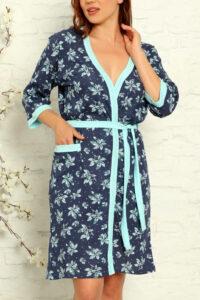 LAP 15004 niebieski szlafrok damski bawełaniany pizamahurt.eu hurtownia bielizny wolka duman hurtownia szlafroków