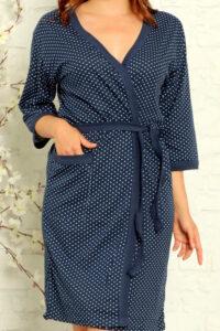 LAP 15006 niebieski szlafrok damski bawełaniany pizamahurt.eu hurtownia bielizny wolka duman hurtownia szlafroków