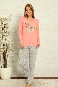 CHR 1013 róż hurtownia piżam damskich tanie piżamy damskie hurt producent piżam bawełnianych wólka hurtownia bielizny