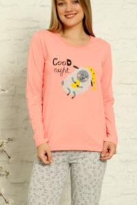 CHR 1013 róż hurtownia piżam tanie piżamy damskie hurt producent piżam bawełnianych wólka hurtownia bielizny