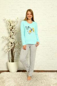 CHR 1013 turkus hurtownia piżam damskich tanie piżamy damskie hurt producent piżam bawełnianych wólka hurtownia bielizny