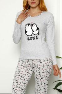 CHR 1024 szary hurtownia piżam damskich tanie piżamy damskie hurt producent piżam bawełnianych wólka hurtownia bielizny