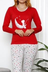 CHR 1025 czerwony hurtownia piżam damskich tanie piżamy damskie hurt producent piżam bawełnianych wólka hurtownia bielizny