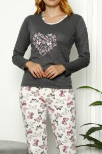 CHR 1026 antracyt hurtownia piżam damskich tanie piżamy damskie hurt producent piżam bawełnianych wólka hurtownia bielizny